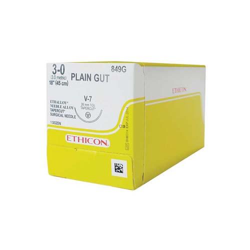 Ethicon (849G) Sutures Gut Plain 3/0 26mm 1/2 T/C V-7 45cm