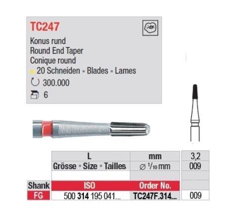 Edenta TC FG 12 Bladed Finishing Bur Bullet 7801 500-314-195-071-009