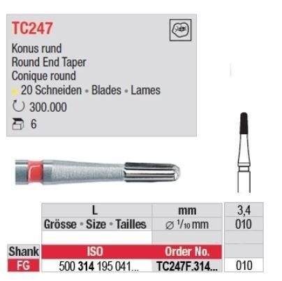 Edenta TC FG 7802 12 Bladed Finishing Bur Bullet 7802 500-314-195-071-010