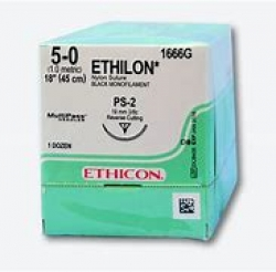 Ethicon (1666G) Sutures Nylon Ethilon Blk  5/0 19mm 3/8 R/C PS-2 45cm