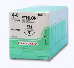 Ethicon (1667G) Sutures Nylon Ethilon Blk  4/0 19mm 3/8 R/C PS-2 45cm
