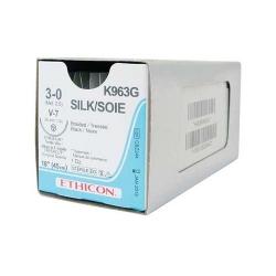 Ethicon (K963G) Sutures Silk Blk  3/0 26mm 1/2 T/C V-7 45cm