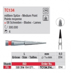 Edenta TC FG 12 Bladed Finishing Bur Med Point 500-314-164-071-014